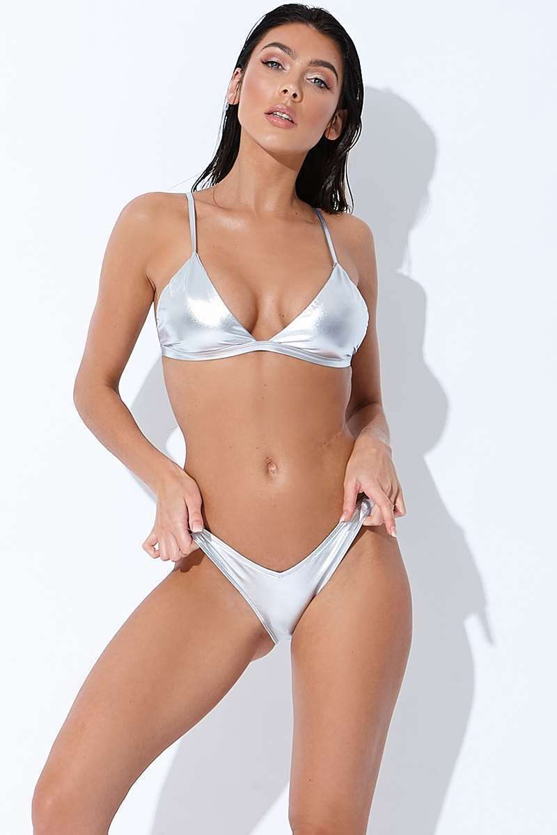 silver metallic ruched back bikini bottoms
