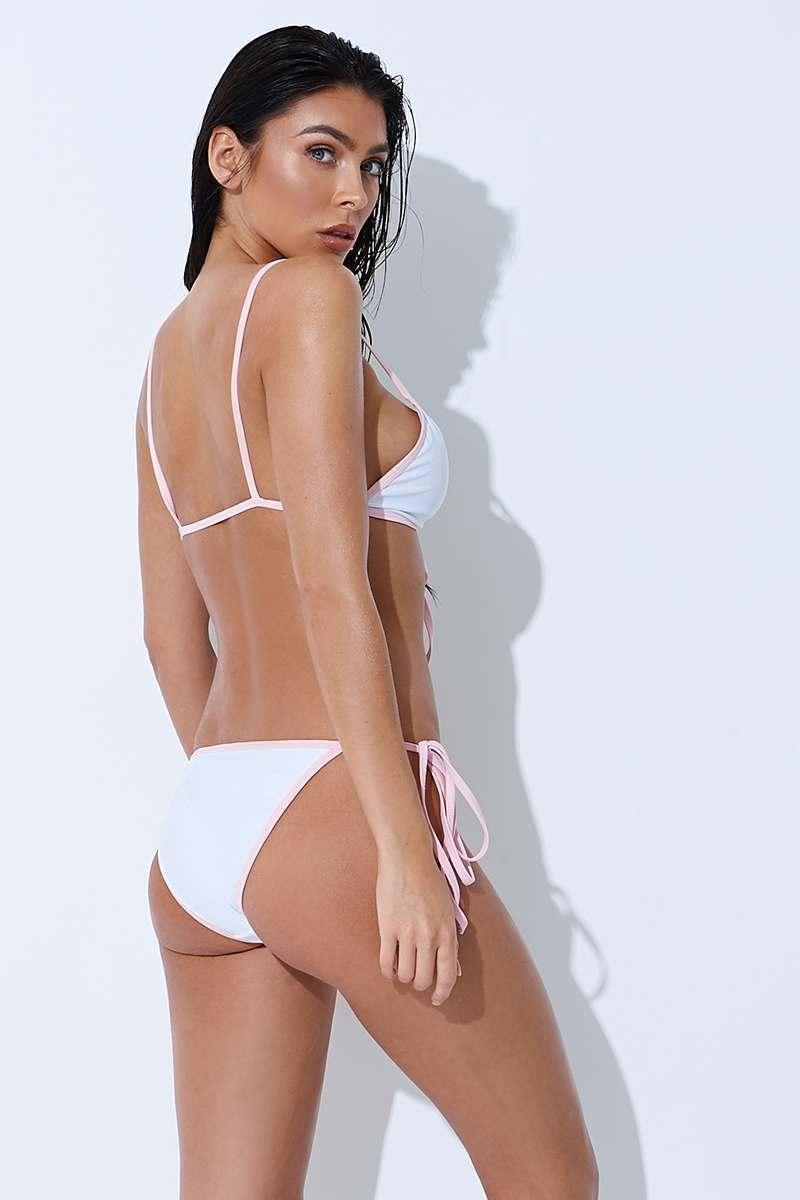 white contrast tie side bikini bottoms