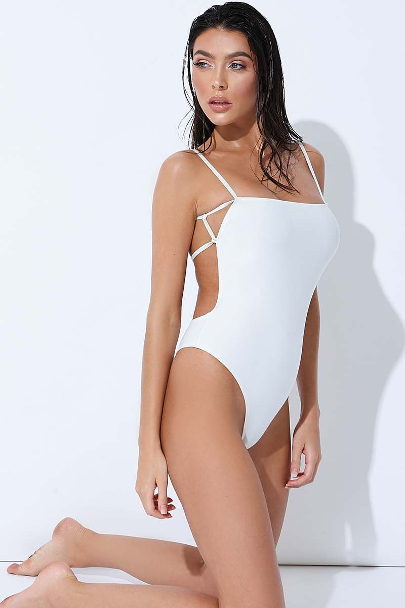 white tie back thong swimsuit