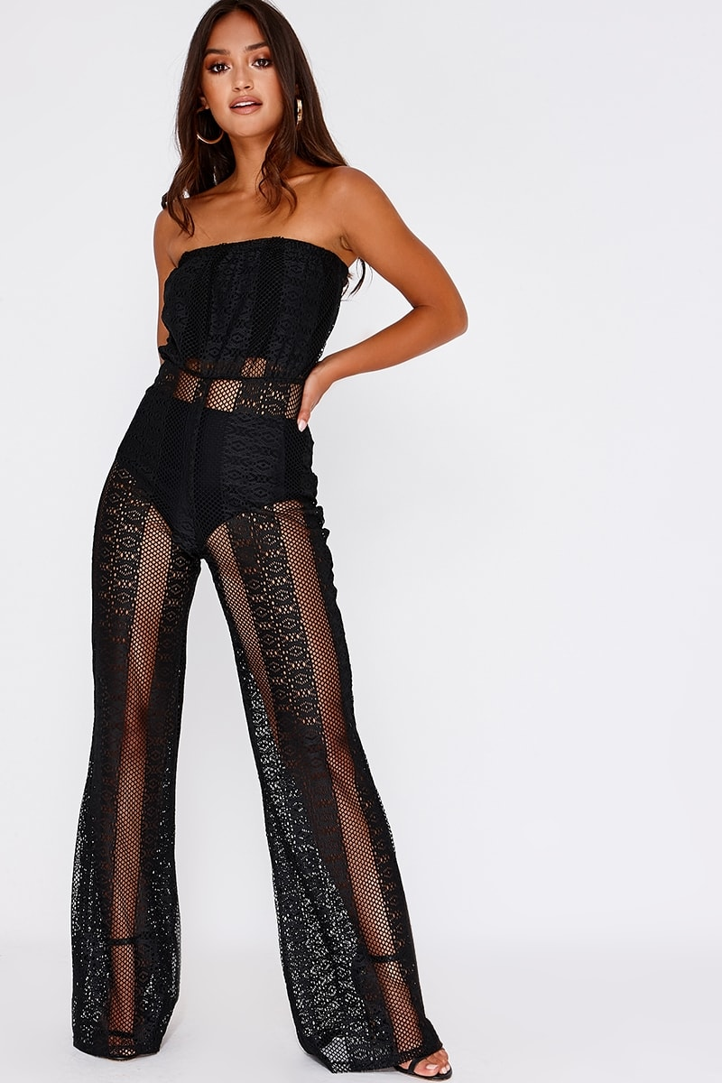 black lace bandeau jumpsuit