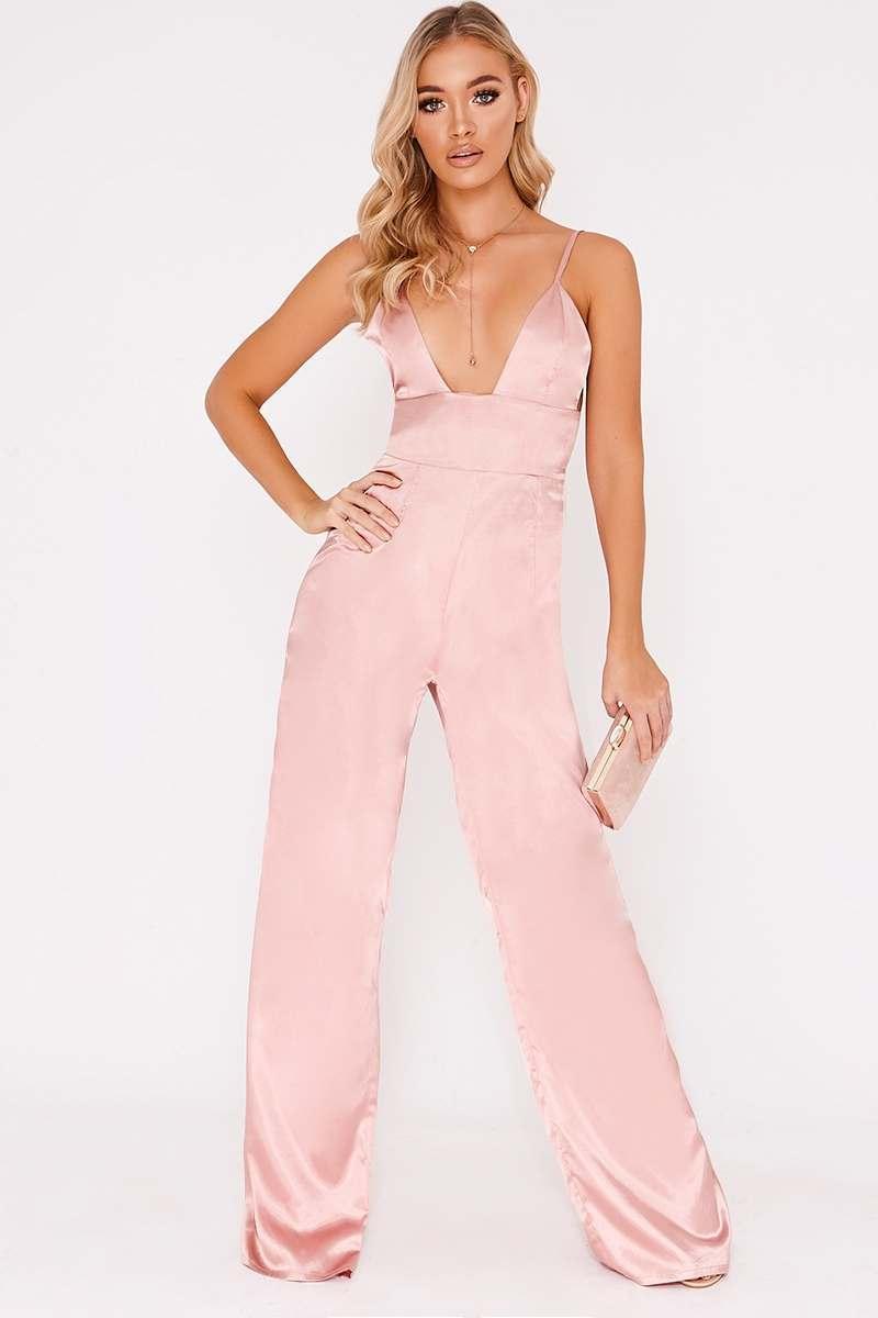 pink satin plunge jumpsuit