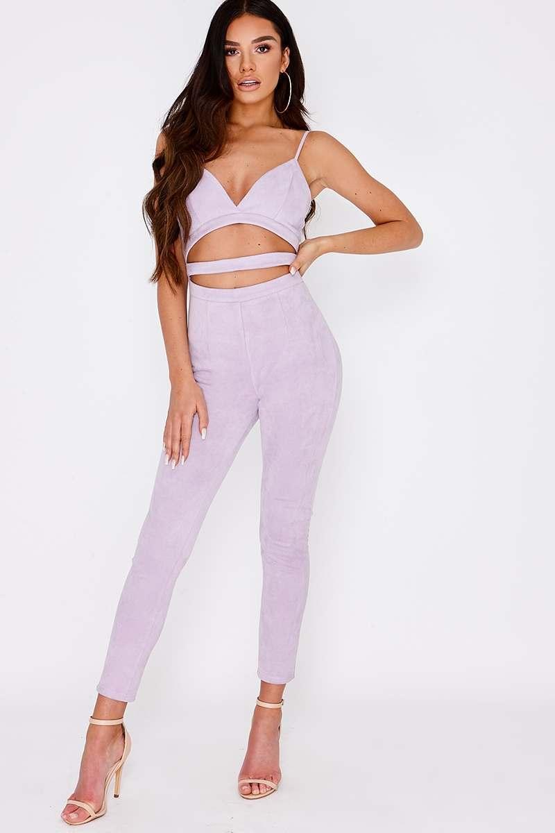 lilac faux suede cut out jumpsuit