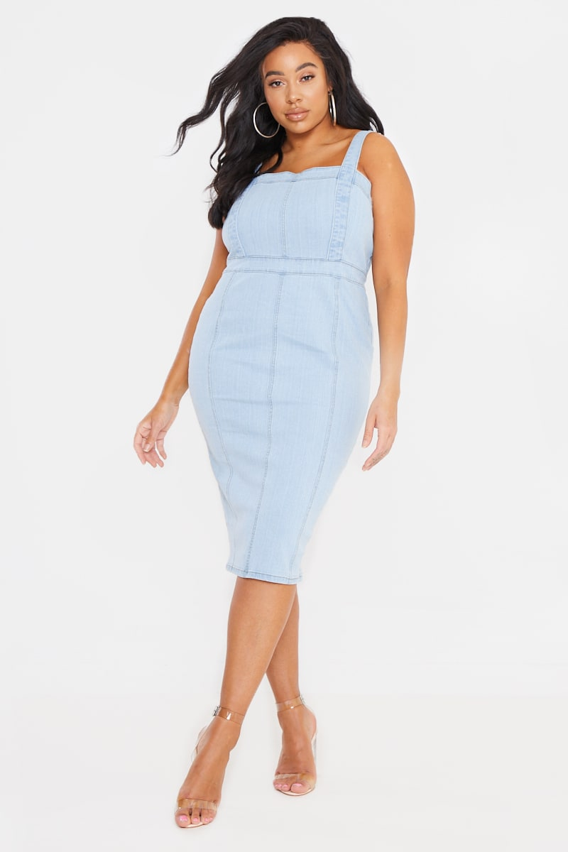CURVE BILLIE FAIERS BLUE STRETCH DENIM MIDI DRESS