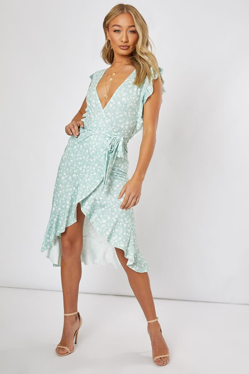 BILLIE FAIERS SAGE GREEN DITSY FLORAL FRILL WRAP FRONT MIDI DRESS