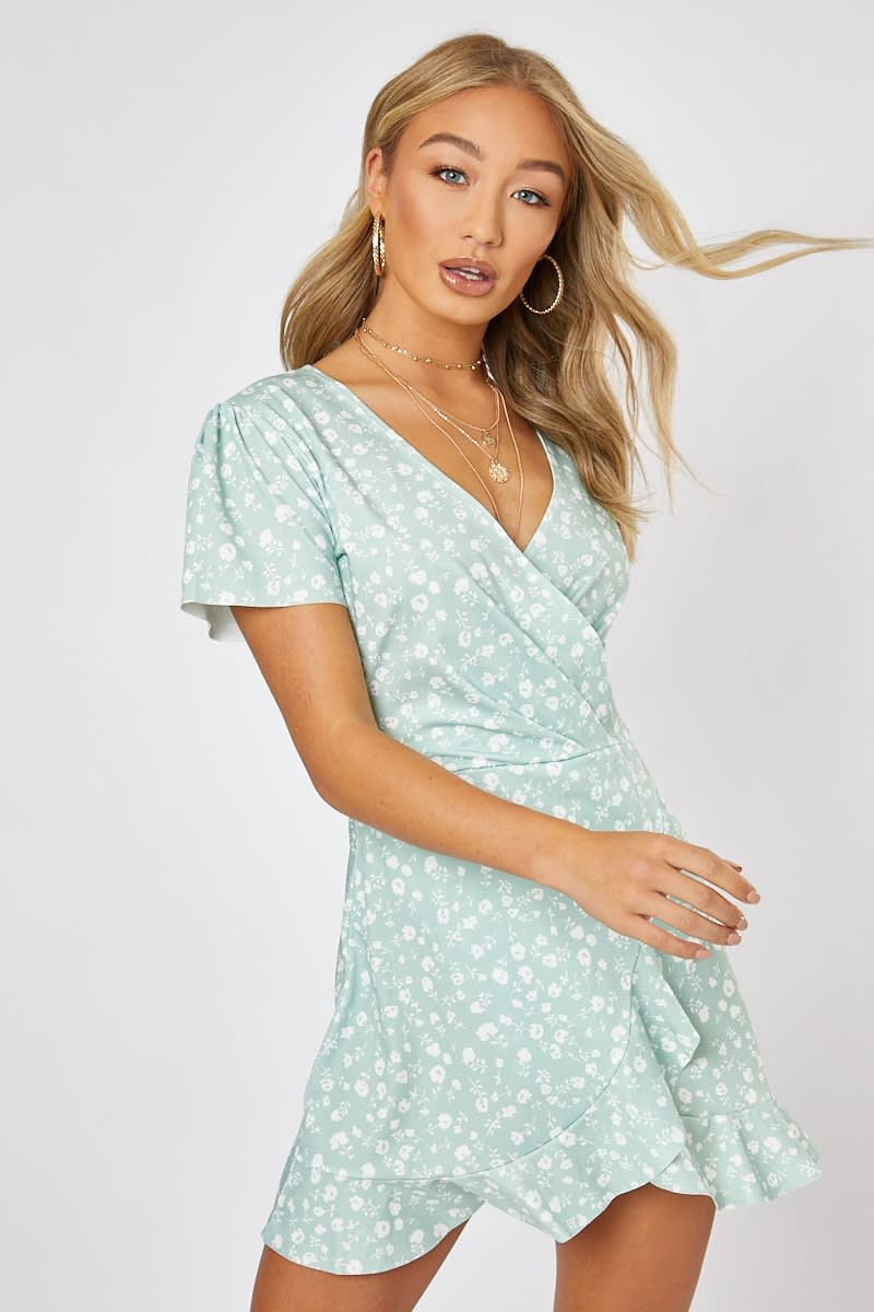 BILLIE FAIERS SAGE GREEN DITSY FLORAL WRAP FRONT MINI DRESS