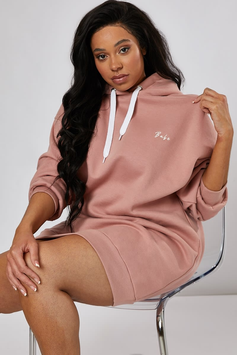 CURVE BABE BLUSH EMBROIDERED OVERSIZED LOUNGEWEAR HOODIE DRESS