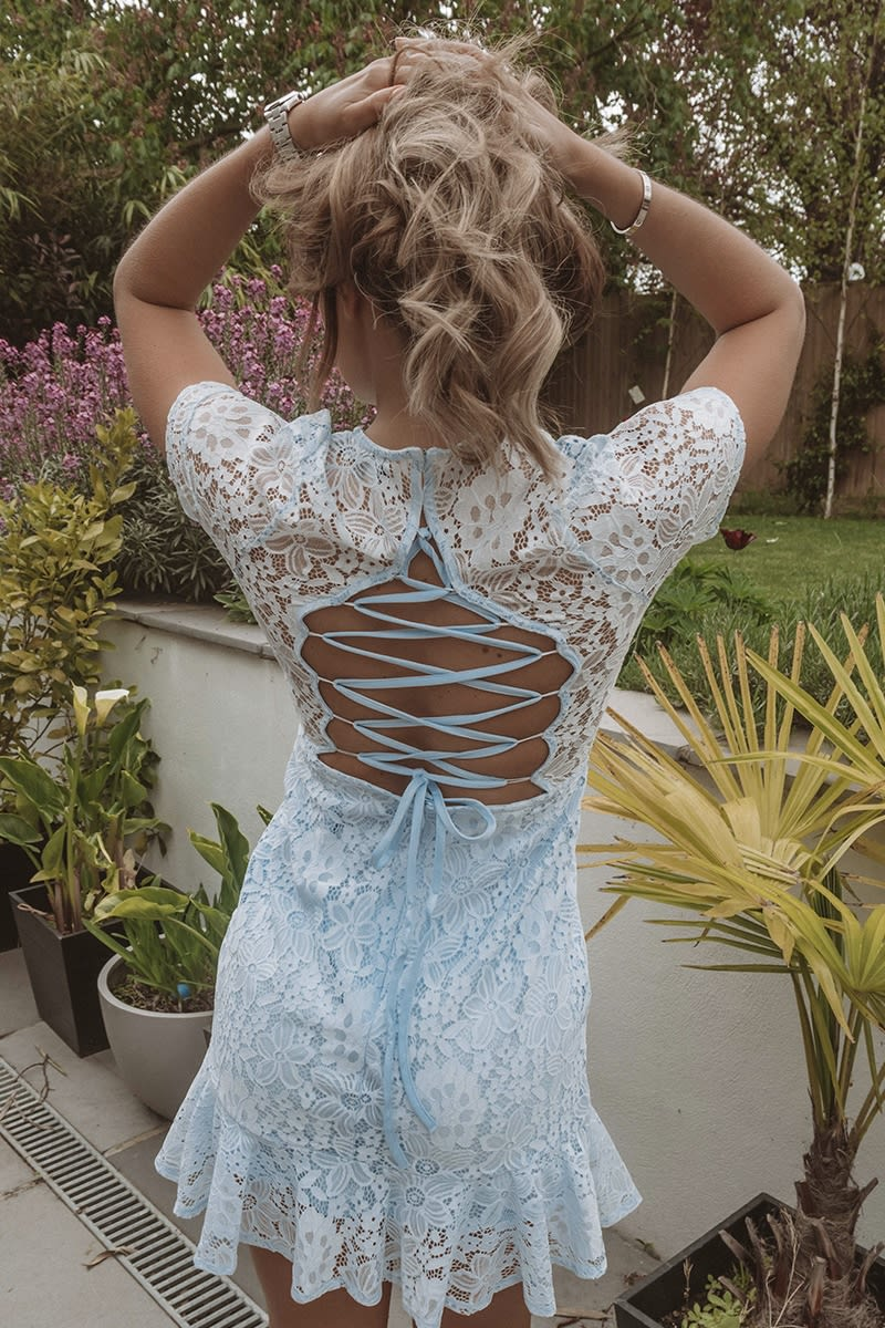 DANI DYER BLUE LACE UP BACK LACE DRESS