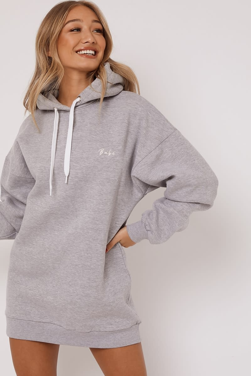 BABE GREY EMBROIDERED OVERSIZED LOUNGE HOODIE DRESS
