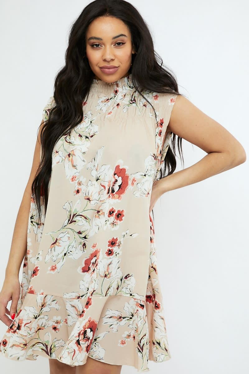 CURVE NUDE FLORAL HIGH NECK SHIRRED SMOCK DRESS