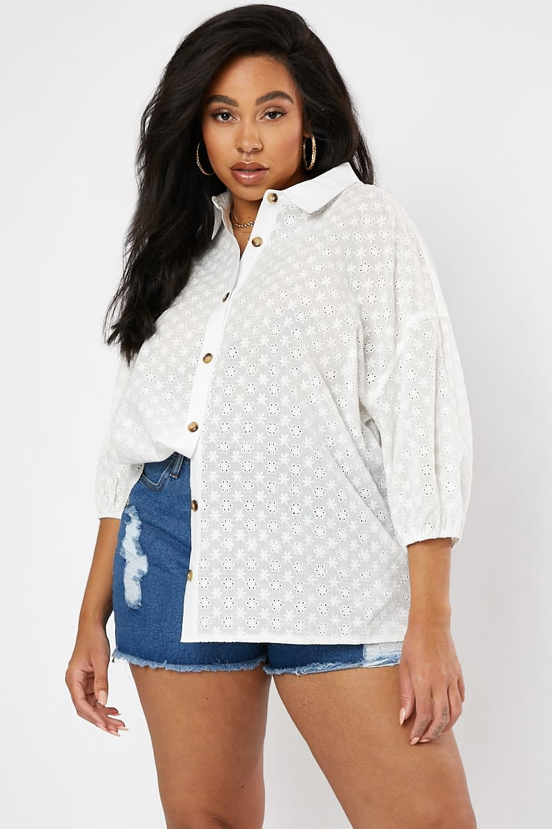 CURVE WHITE BRODERIE ANGLAISE TORT BUTTON SHIRT