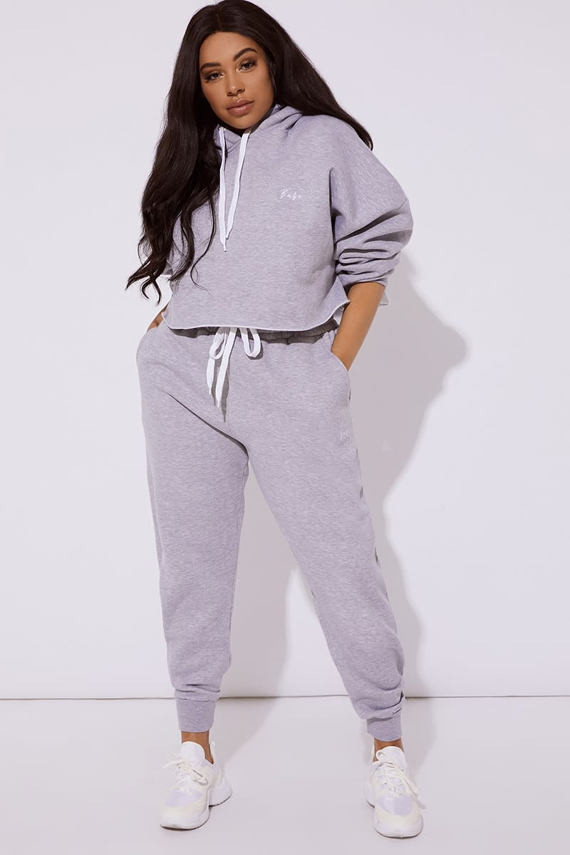 CURVE BABE GREY EMBROIDERED JOGGERS