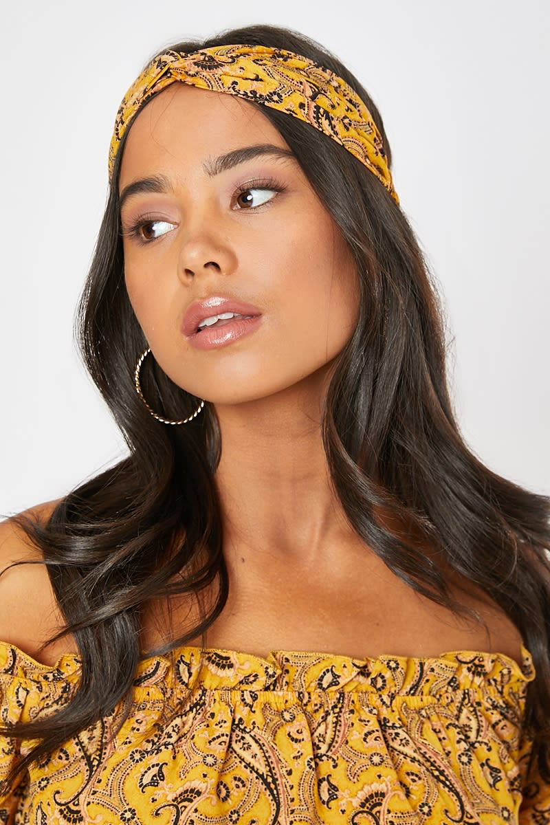YELLOW PAISLEY HEADBAND