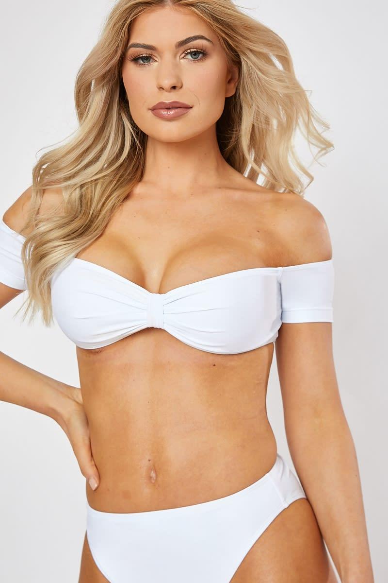 white bardot bikini top