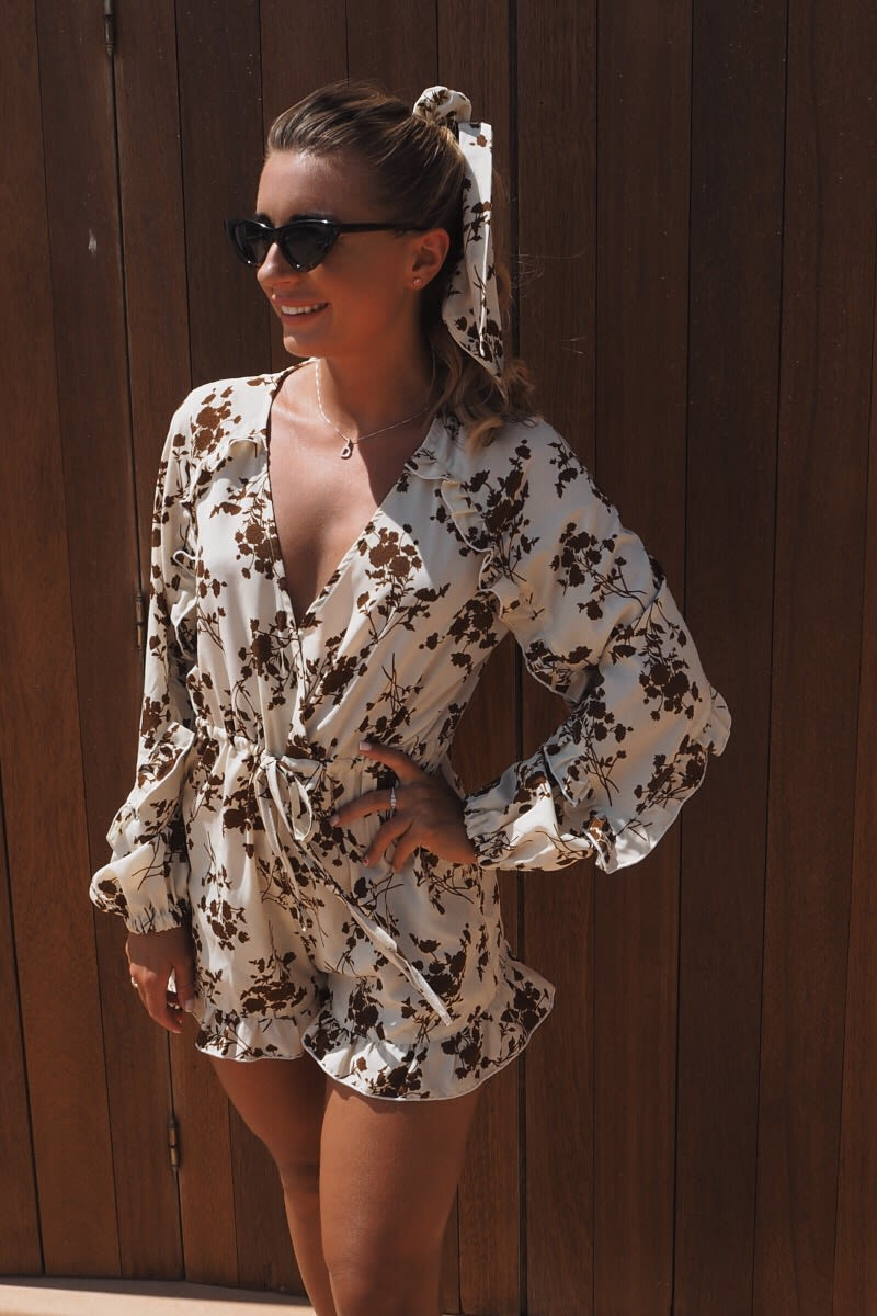 CREAM FLORAL PRINT FRILL DETAIL WRAP PLAYSUIT