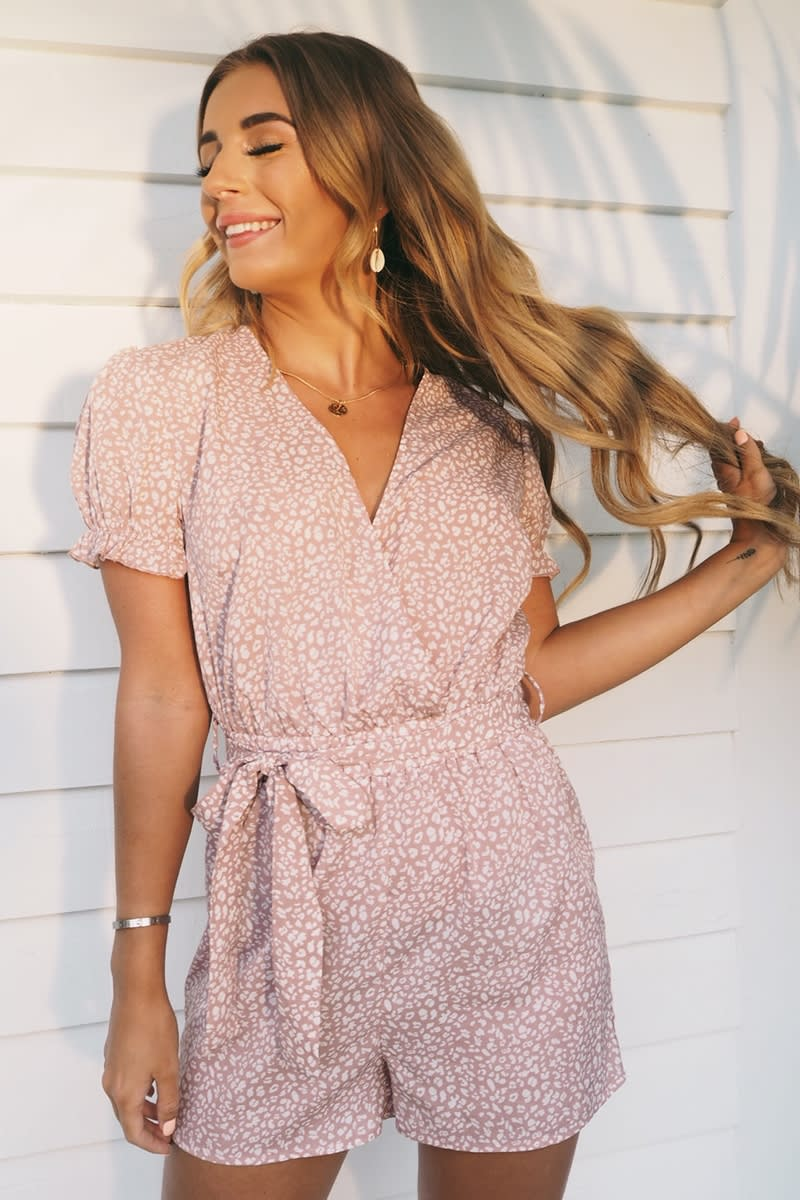 PINK ANIMAL PRINT WRAP FRONT FRILL SLEEVE PLAYSUIT