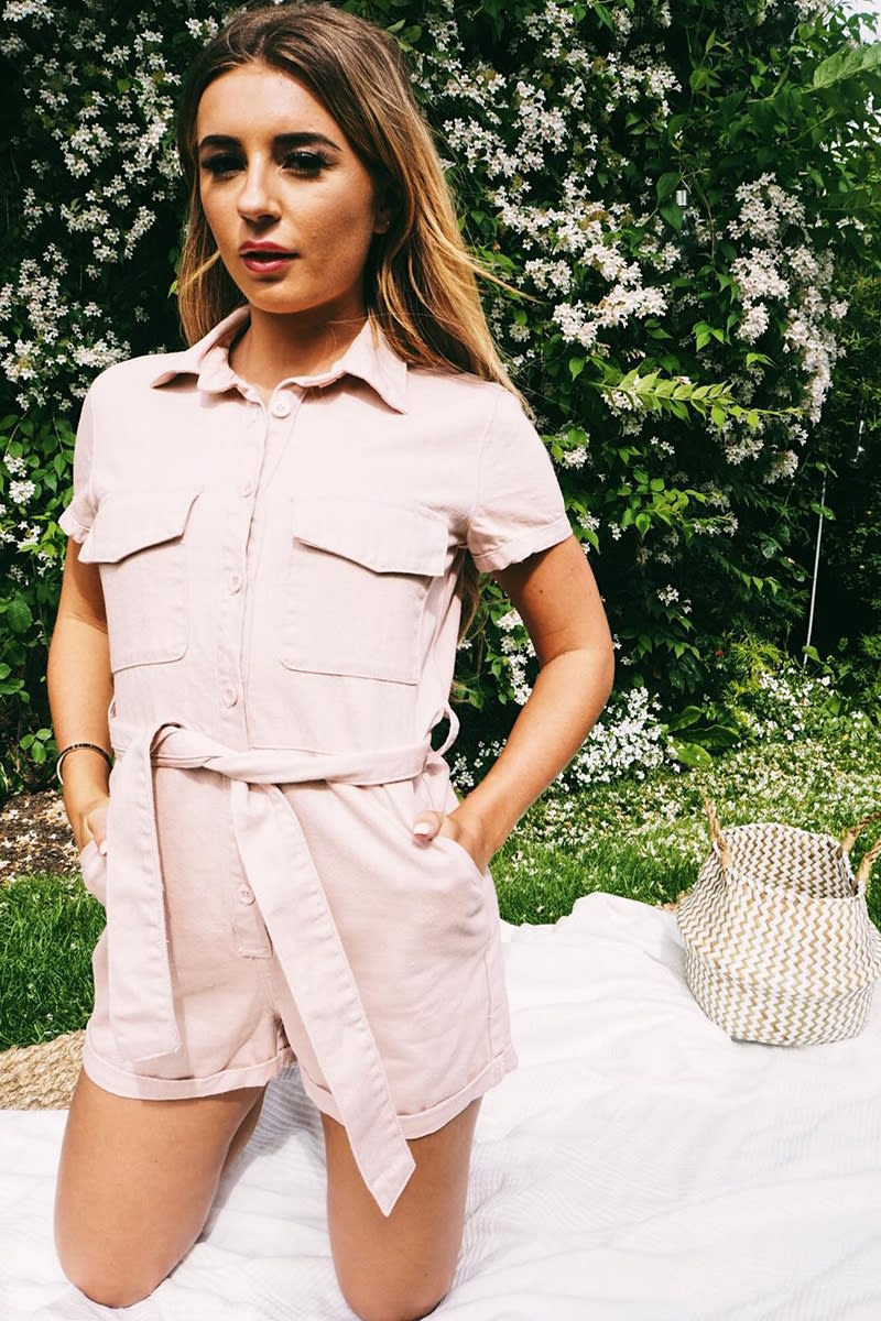 PASTEL PINK BELTED DENIM PLAYSUIT