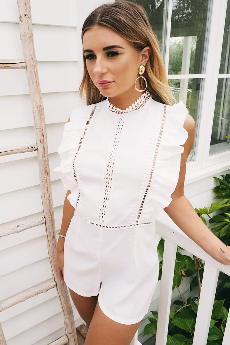WHITE LACE INSERT FRILL PLAYSUIT