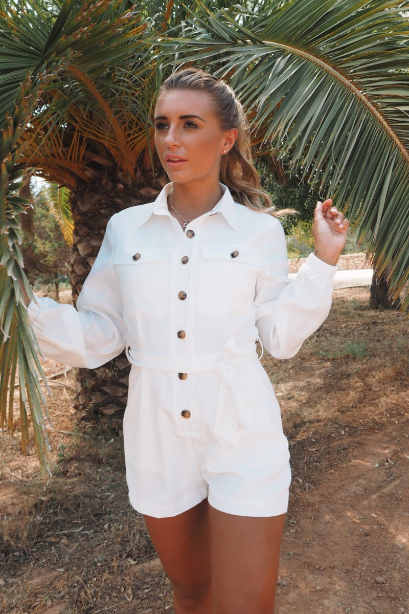 WHITE TORT BUTTON UTILITY PLAYSUIT