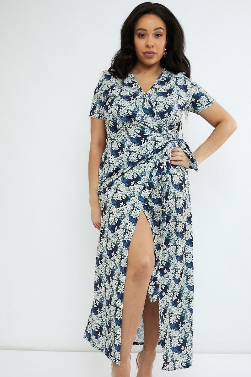 curve navy floral print wrap maxi dress