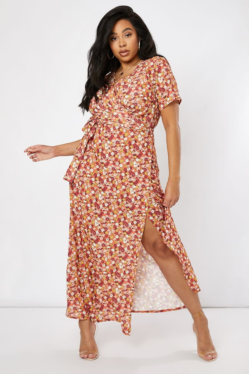 curve orange floral print wrap maxi dress