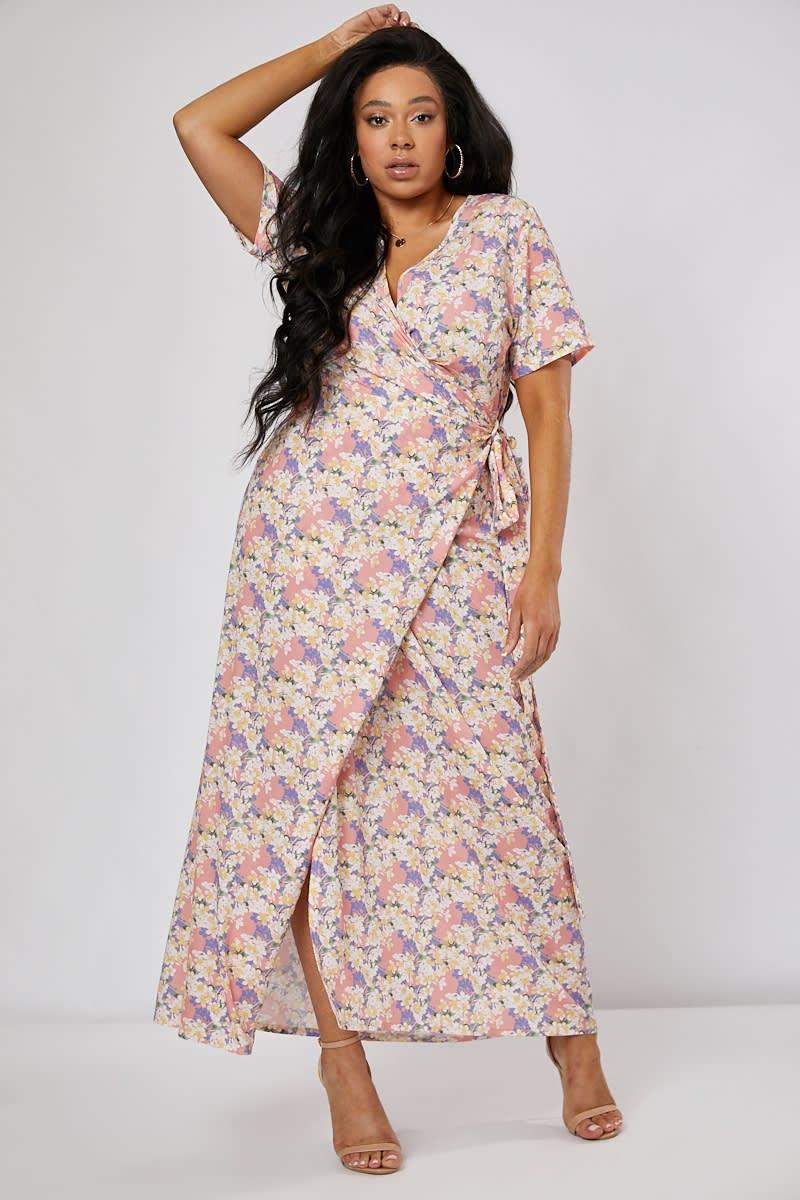 curve pink floral print wrap maxi dress