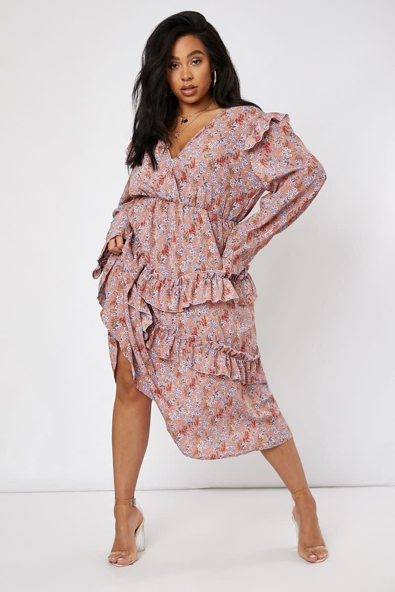curve pink floral plunge frill shoulder midi dress