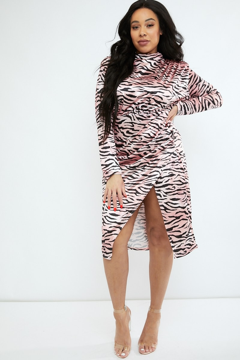 curve pink tiger print high neck split front midi dress