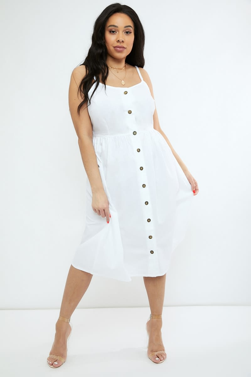 curve white poplin button down midi dress