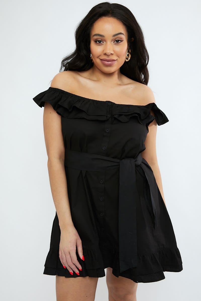 curve black frill shoulder tie waist button down dress