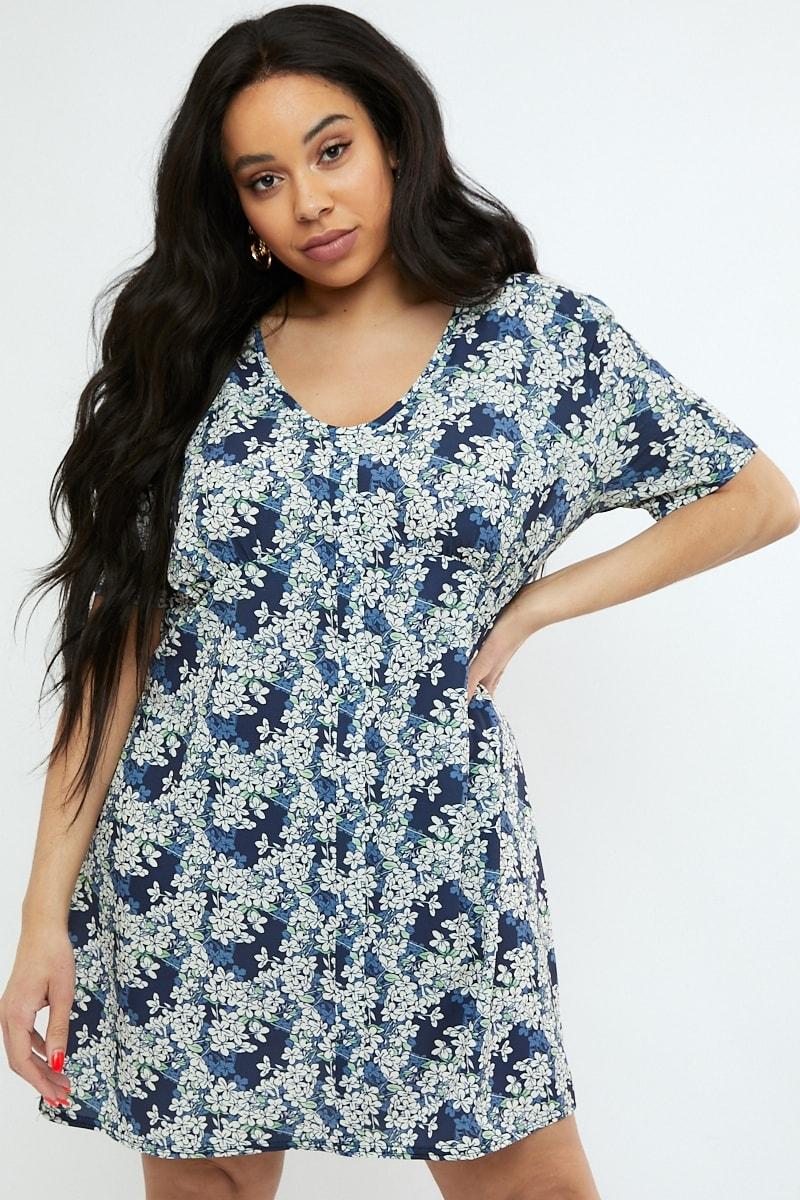 curve navy floral print v neck shift dress