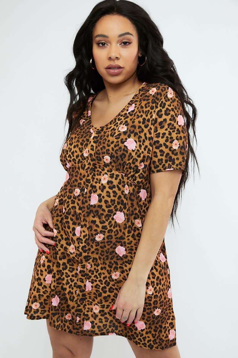 curve mix leopard print v neck shift dress