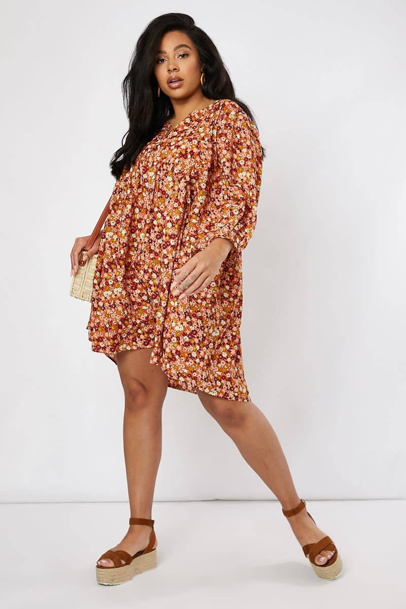 curve orange floral wide sleeve mini dress