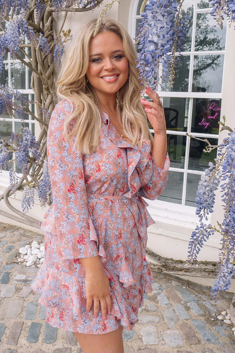 pink floral cropped sleeve frill layer dress