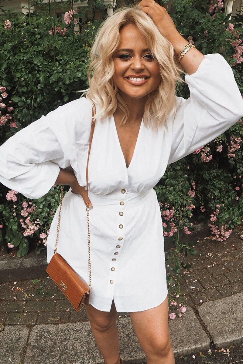 white poplin button down mini dress