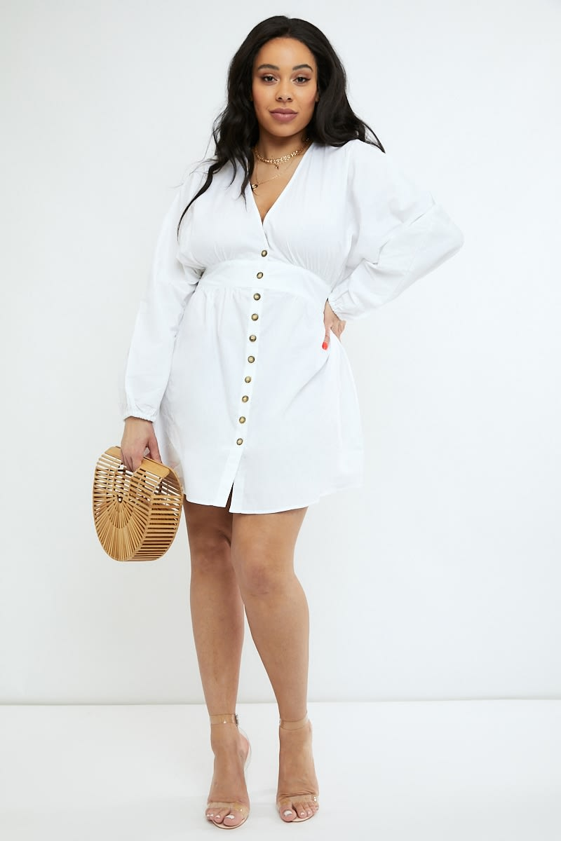 curve white poplin button down mini dress