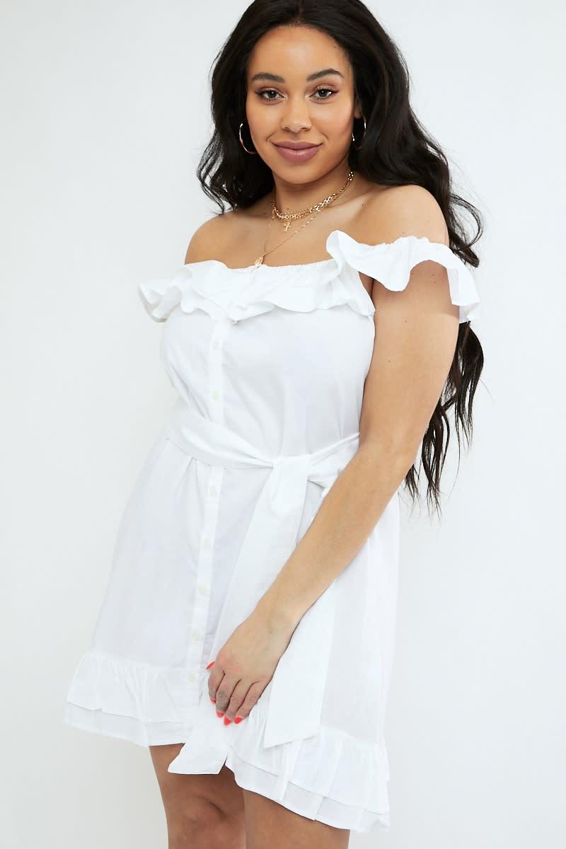 curve white frill shoulder tie waist button down dress