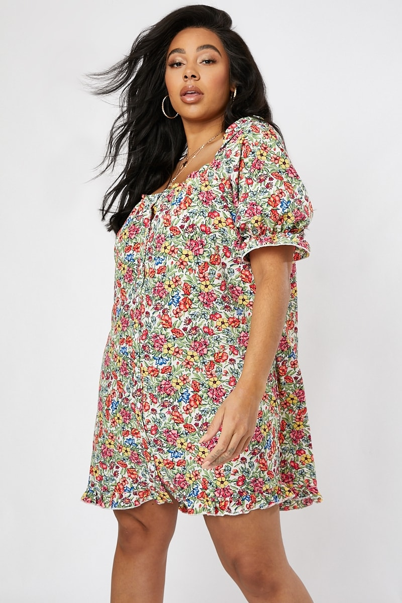 curve white floral puff sleeve button down dress