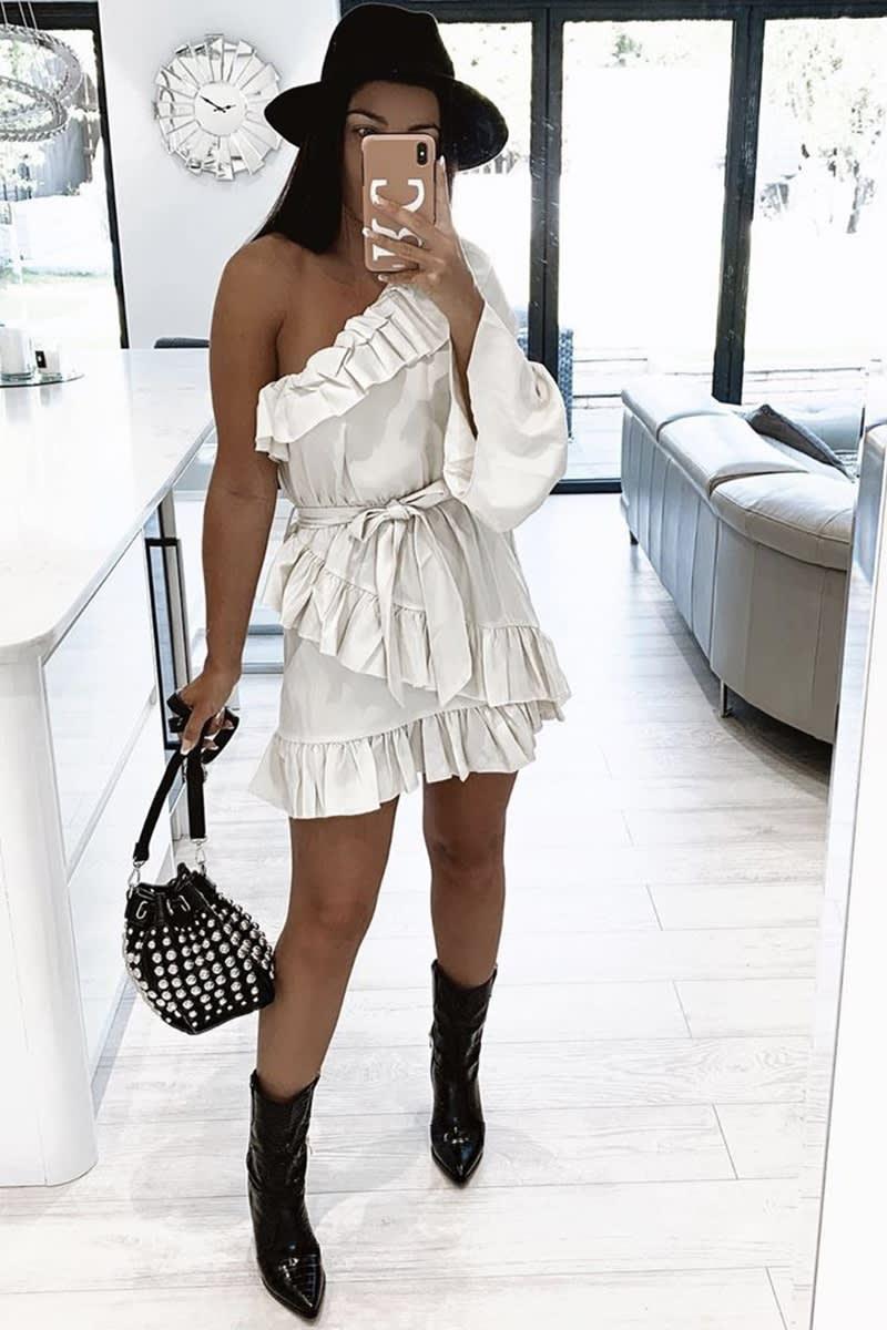 off white frill one shoulder mini dress