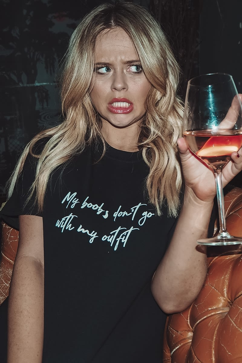 black my boobs don't go with my outfit slogan oversized tee shirt