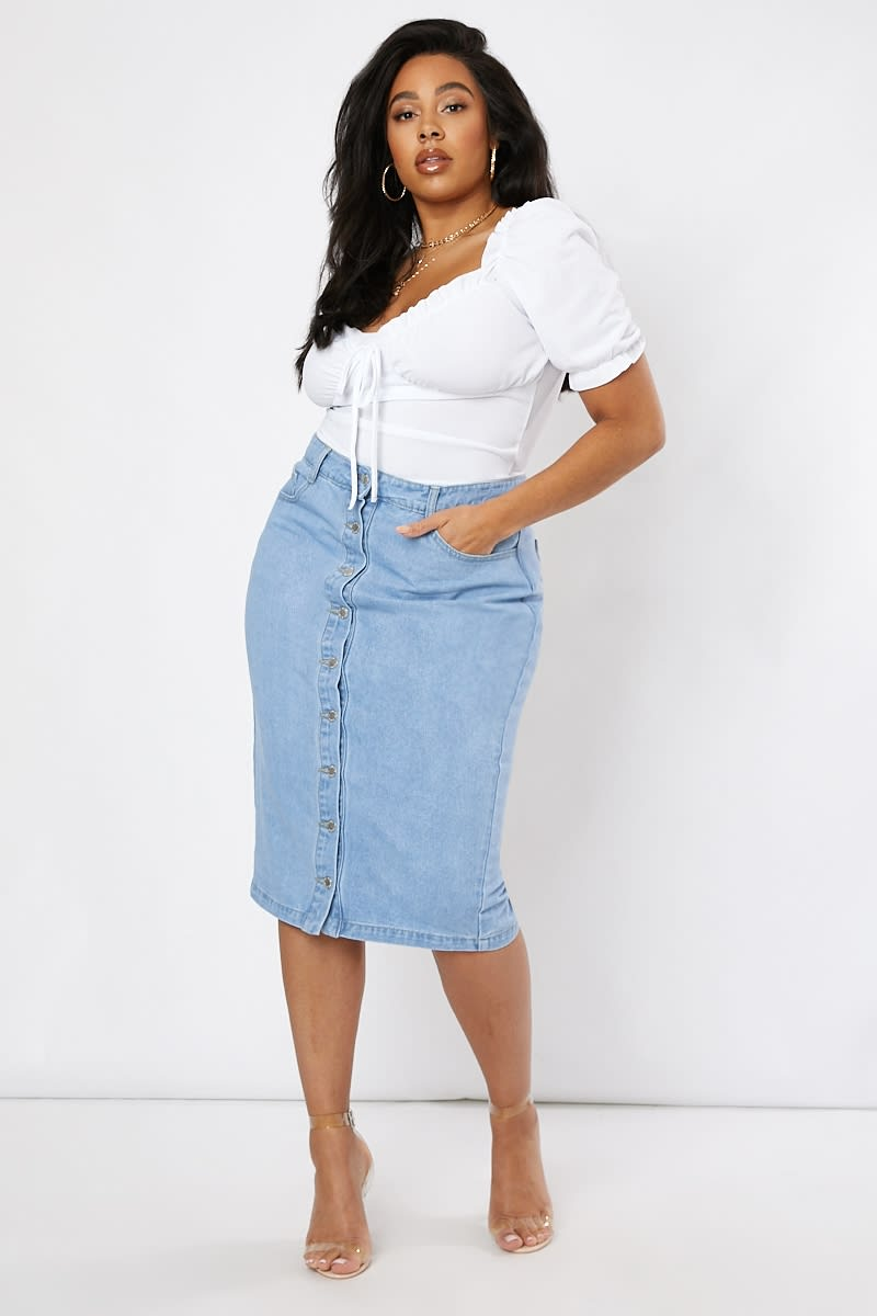 curve denim button down midi skirt