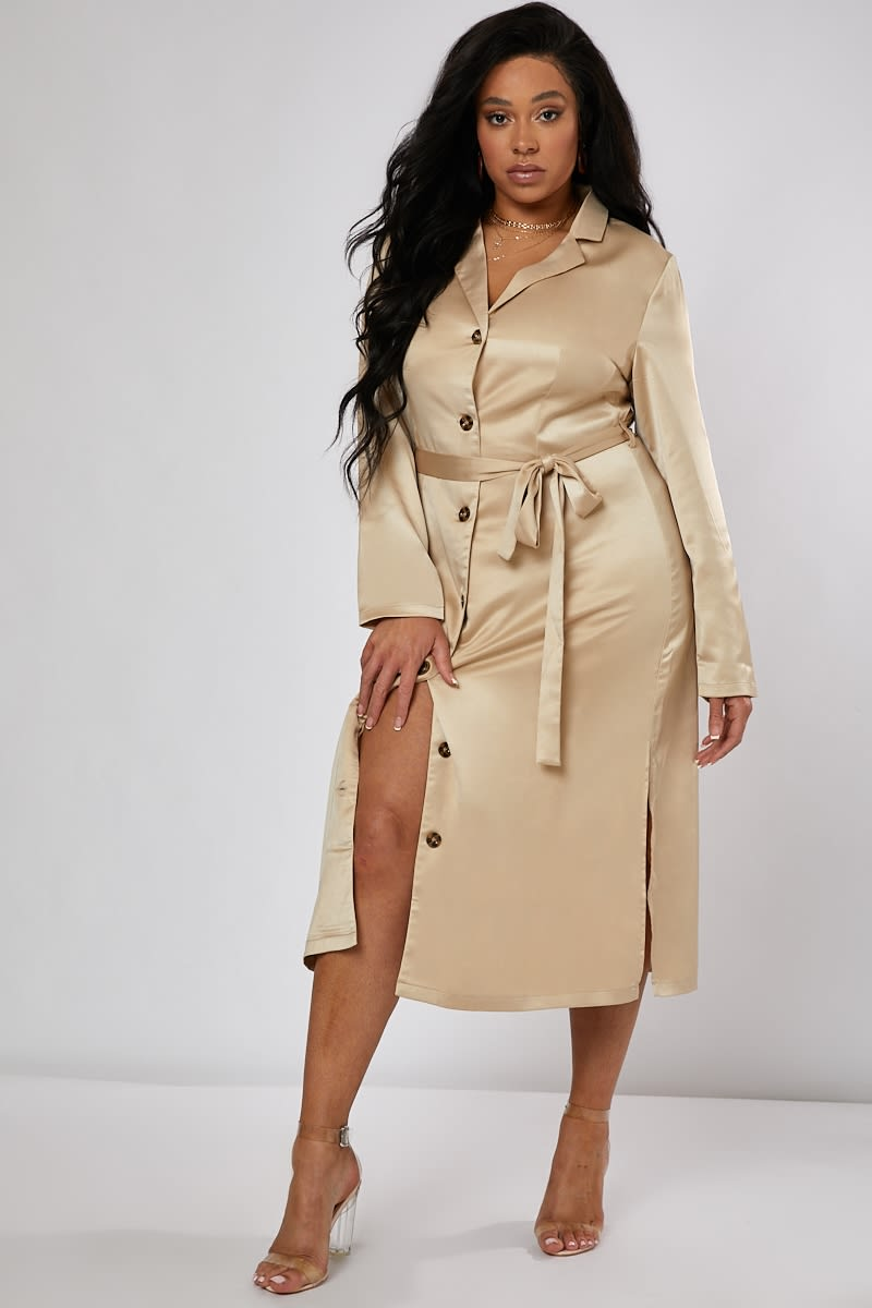CURVE LAURA JADE NUDE SATIN BUTTON THROUGH MIDI SHIRT DRESS