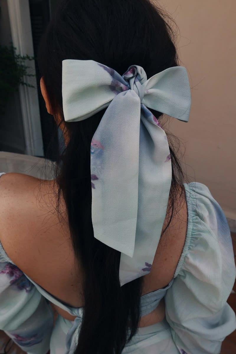 LORNA LUXE 'LA BOHEME CHERUB PRINT' GREEN HAIR TIE