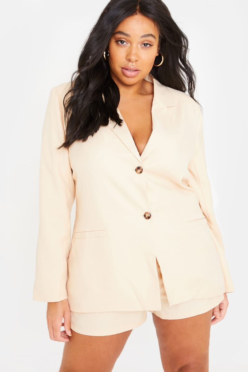 CURVE FASHION INFLUX STONE SINGLE BREASTED BLAZER