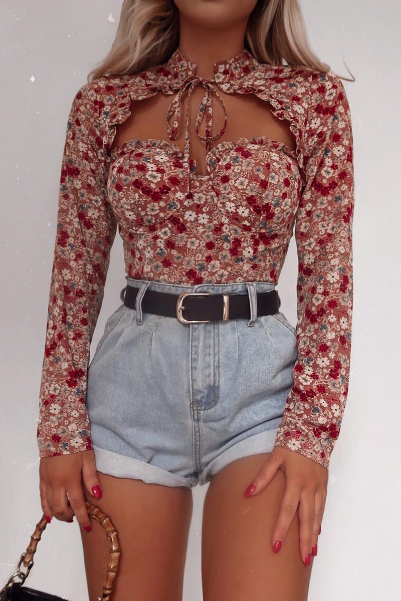 FASHION INFLUX BLUSH FLORAL CUPPED TIE NECK BODYSUIT
