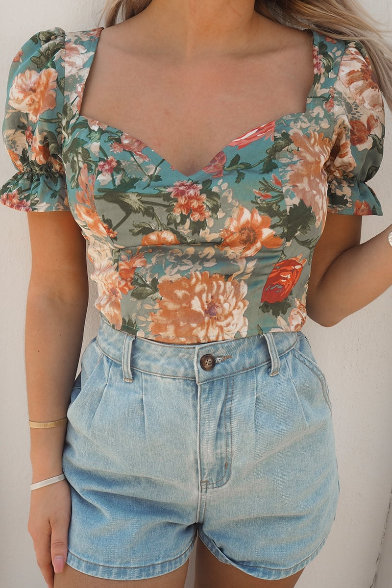 FASHION INFLUX GREEN FLORAL FRILL PUFF SLEEVED CROP TOP