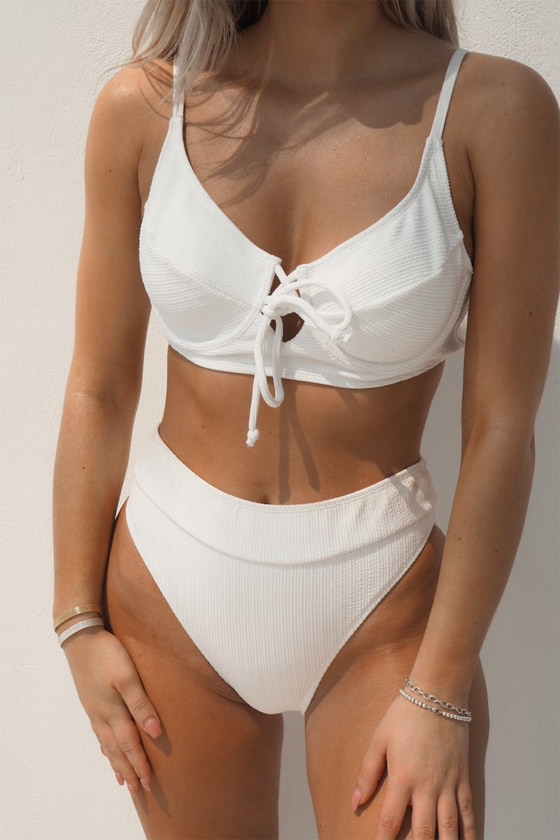FASHION INFLUX WHITE RIB HIGH WAISTED BIKINI BOTTOM