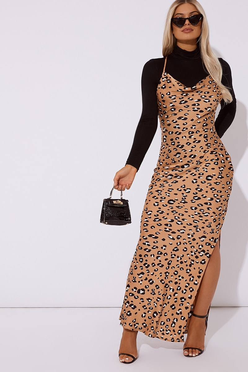 camel satin leopard cross back dress