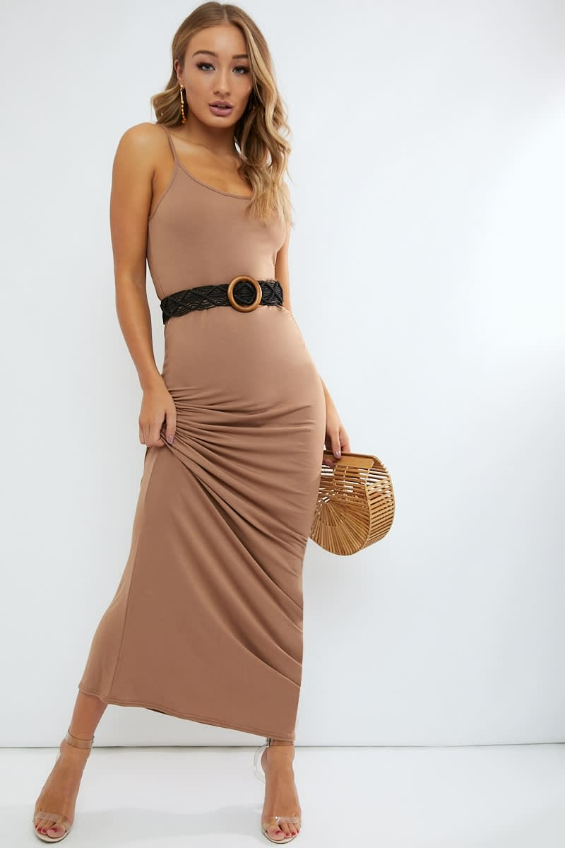 basic camel maxi dress