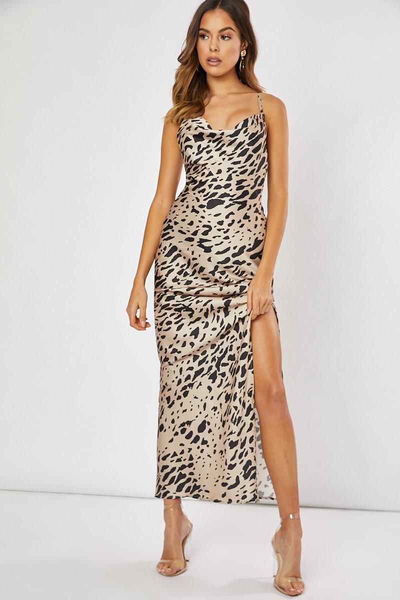gold leopard satin cowl neck maxi dress