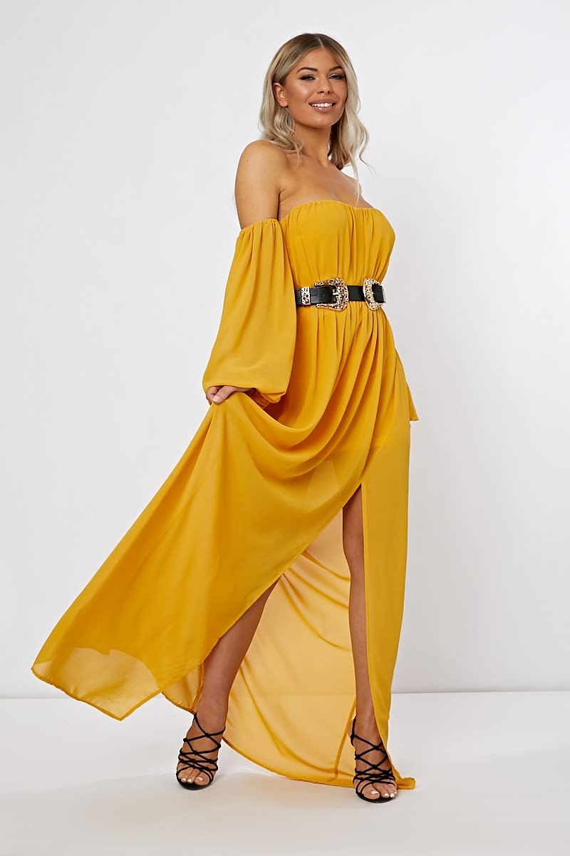 Mustard Bardot Western Belted Split Front Maxi Dress | In